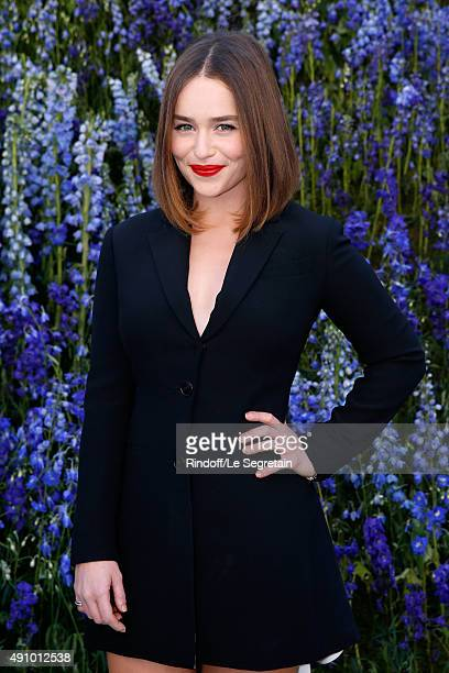 Actress Emilia Clarke attends the Christian Dior show as part of the Paris Fashion Week Womenswear Spring/Summer 2016 Held at Cour Carre du Louvre on...