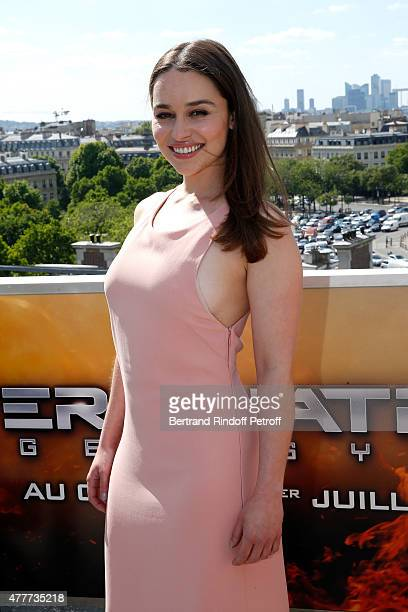 Actress Emilia Clarke attends the France Photocall of 'Terminator Genisys' at the Publicis Champs Elysees on June 19 2015 in Paris France