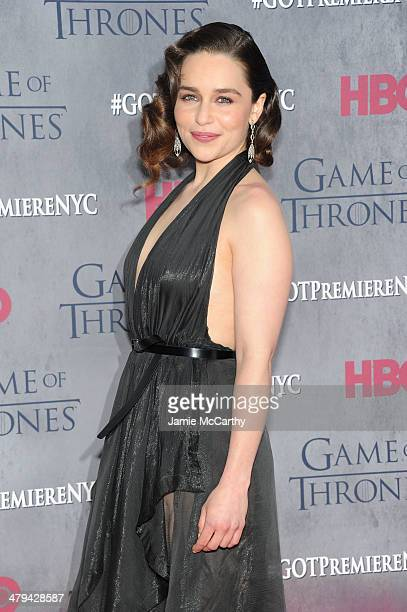 Actress Emilia Clarke attends the Game Of Thrones Season 4 New York premiere at Avery Fisher Hall Lincoln Center on March 18 2014 in New York City