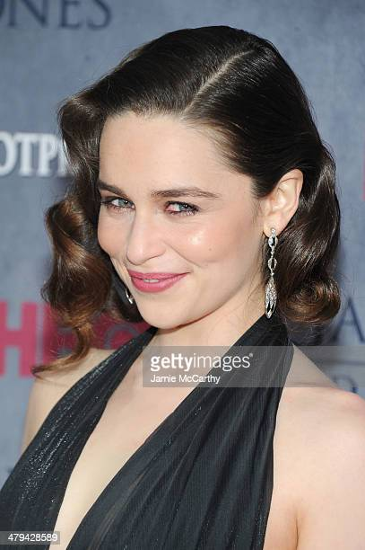 Actress Emilia Clarke attends the 'Game Of Thrones' Season 4 New York premiere at Avery Fisher Hall Lincoln Center on March 18 2014 in New York City