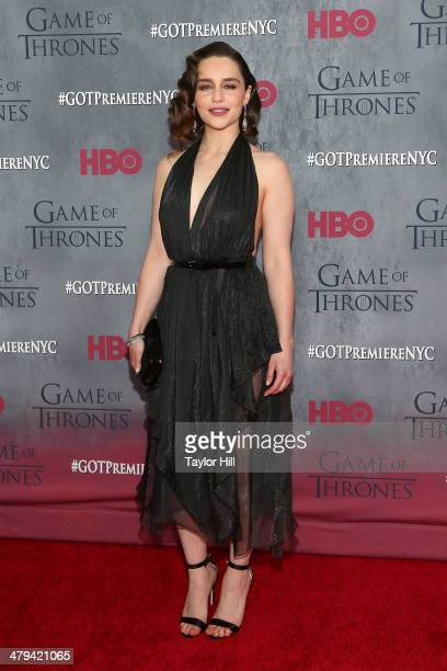 Actress Emilia Clarke attends the Game Of Thrones Season 4 premiere at Avery Fisher Hall Lincoln Center on March 18 2014 in New York City