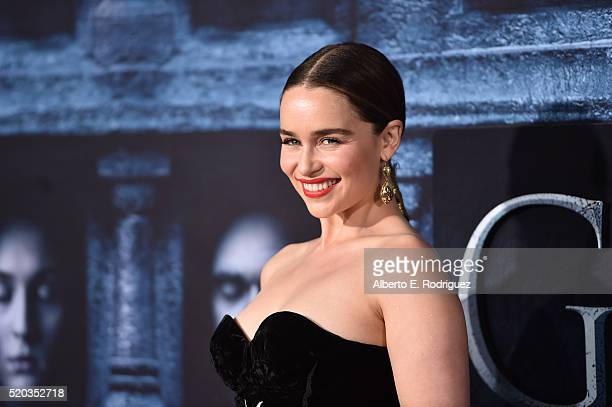 Actress Emilia Clarke attends the premiere of HBO's Game Of Thrones Season 6 at TCL Chinese Theatre on April 10 2016 in Hollywood California