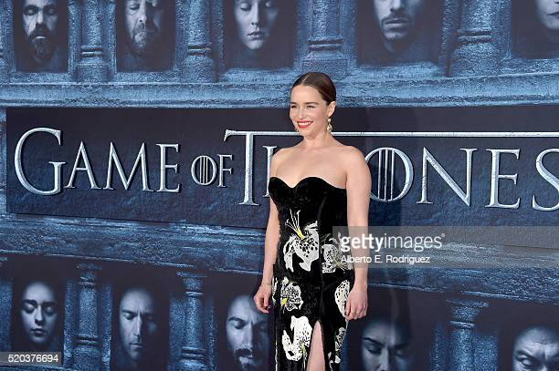 Actress Emilia Clarke attends the premiere of HBO's 'Game Of Thrones' Season 6 at TCL Chinese Theatre on April 10 2016 in Hollywood California