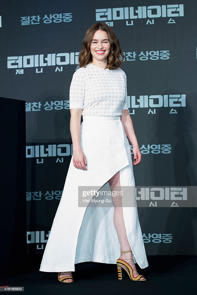 Actress Emilia Clarke attends the press conference for 'Terminator Genisys' on July 2, 2015 in Seoul, South Korea. The film will open on July 02, in South Korea.