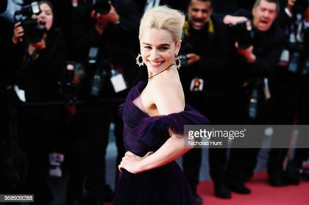 Actress Emilia Clarke attends the screening of 'Solo A Star Wars Story' during the 71st annual Cannes Film Festival at Palais des Festivals on May 15...