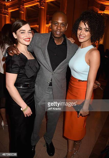Actress Emilia Clarke comedian Dave Chappelle and actress Nathalie Emmanuel attend the after party for HBO's 'Game of Thrones' Season 5 at San...