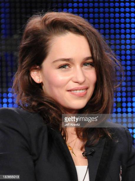 Actress Emilia Clarke speaks at the HBO Winter 2011 TCA Panel held at the Langham Hotel on January 7 2011 in Pasadena California