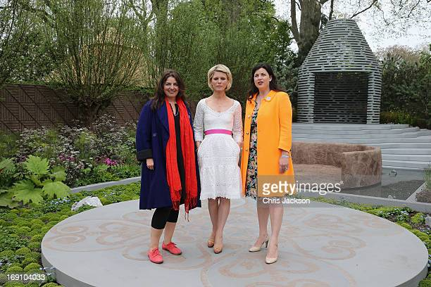 Actress Emilia Fox poses with garden designer Jinny Blom and Kirstie Allsopp in the BQ Sentebale 'ForgetMeNot' Garden at the Chelsea Flower Show at...