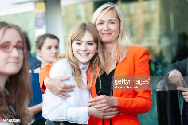 Actress Emilia Jones and producer Emma Comley attend a photocall for the World Premiere of 'Two for joy' during the 72nd Edinburgh International Film...