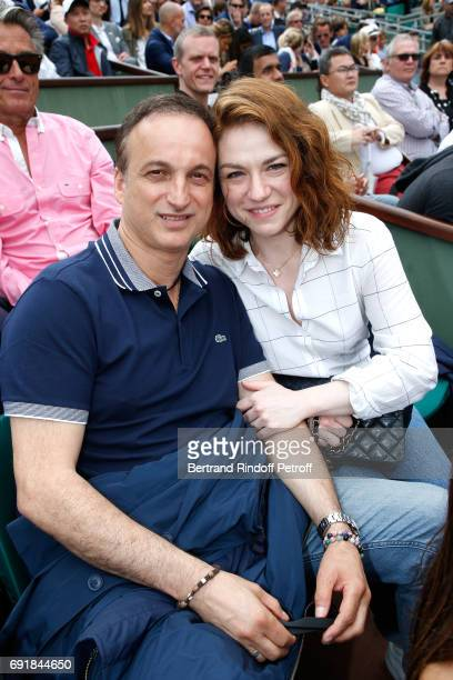 Actress Emilie Dequenne and her husband Michel Ferracci attend the 2017 French Tennis Open - Day Seven at Roland Garros on June 3, 2017 in Paris,...