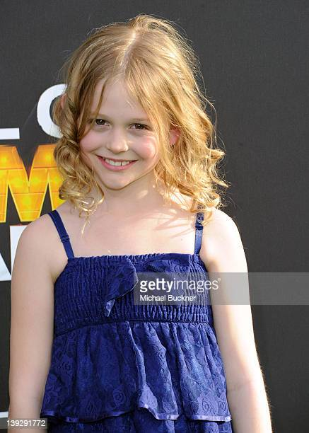Actress Emily Alyn Lind arrives at the 2012 Cartoon Network Hall of Game Awards at Barker Hangar on February 18 2012 in Santa Monica California...