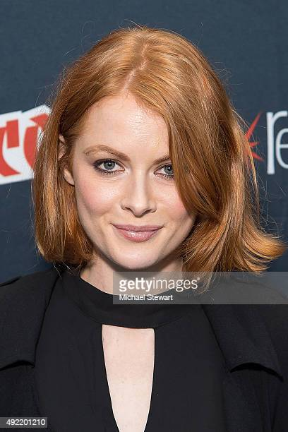 Actress Emily Beecham poses in the press room for 'Into the Badlands' during New York ComicCon Day 3 at The Jacob K Javits Convention Center on...