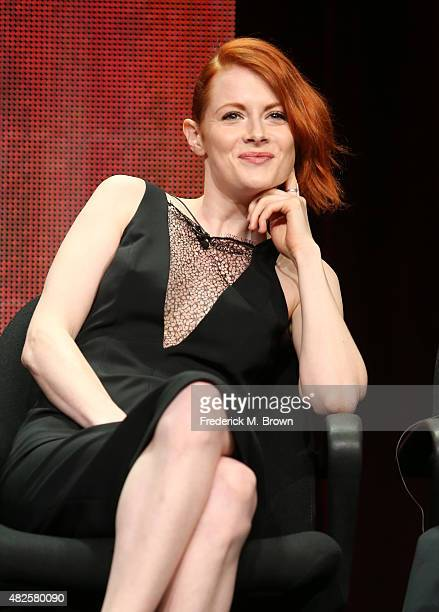 Actress Emily Beecham speaks onstage during the 'Into the Badlands' panel discussion at the AMC/IFC Networks portion of the 2015 Summer TCA Tour at...