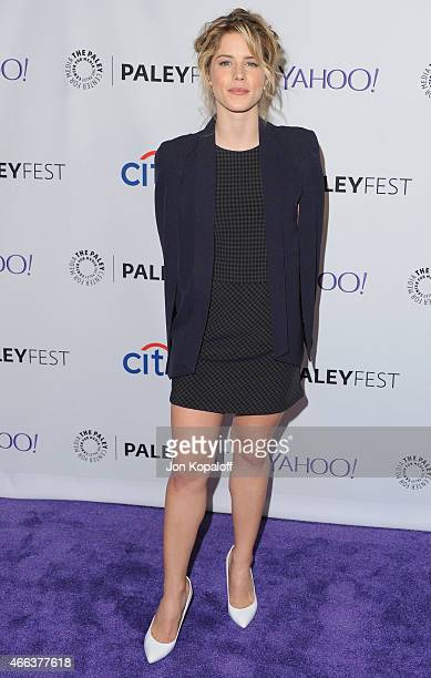 Actress Emily Bett Rickards arrives at The Paley Center For Media's 32nd Annual PALEYFEST LA 'Arrow' And 'The Flash' at Dolby Theatre on March 14...