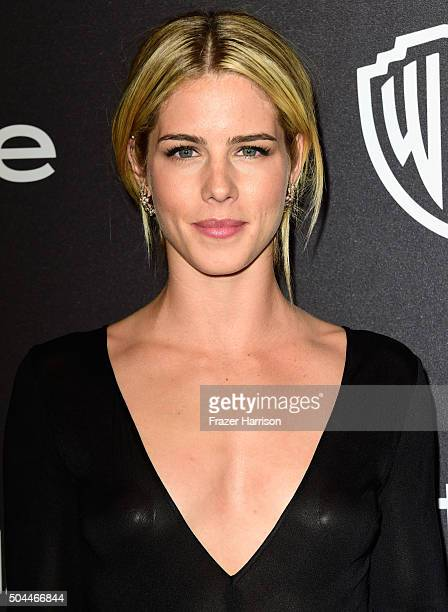 Actress Emily Bett Rickards attends InStyle and Warner Bros 73rd Annual Golden Globe Awards PostParty at The Beverly Hilton Hotel on January 10 2016...