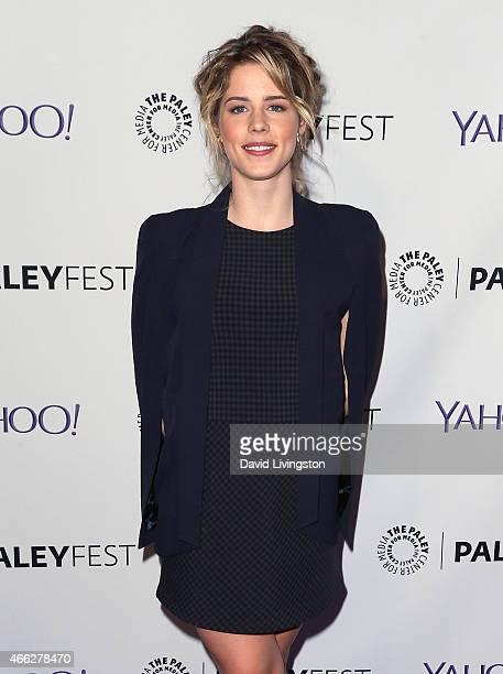 Actress Emily Bett Rickards attends the 'Arrow' 'The Flash' event at The Paley Center For Media's 32nd Annual PALEYFEST LA at the Dolby Theatre on...
