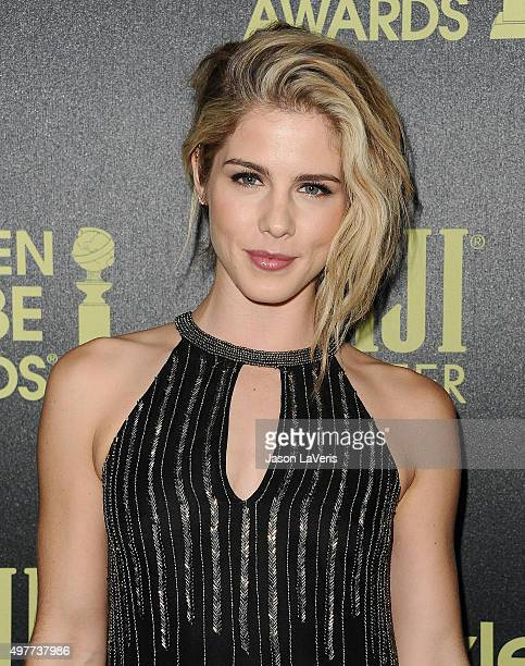Actress Emily Bett Rickards attends the Hollywood Foreign Press Association and InStyle's celebration of the 2016 Golden Globe award season at Ysabel...