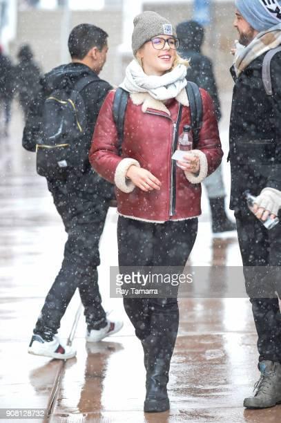 Actress Emily Bett Rickards walks in Park City on January 20 2018 in Park City Utah
