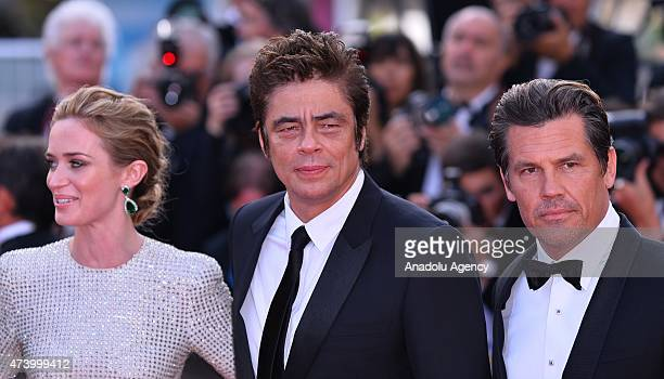 Actress Emily Blunt Actor Benicio Del Toro and actor Josh Brolin arrive for the screening of the film 'Sicario' at the 68th annual Cannes Film...
