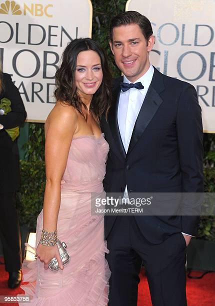 Actress Emily Blunt and actor John Krasinski arrive at the 67th Annual Golden Globe Awards held at The Beverly Hilton Hotel on January 17, 2010 in...