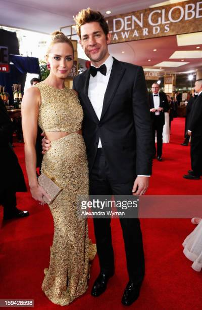 Actress Emily Blunt and actor John Krasinski arrive at the 70th Annual Golden Globe Awards held at The Beverly Hilton Hotel on January 13 2013 in...