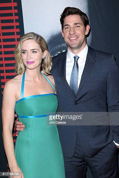 Actress Emily Blunt and Actor John Krasinski attends 'The Girl on the Train' premiere at Regal EWalk on October 4 2016 in New York City