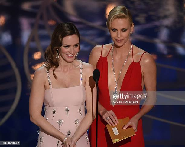 Actress Emily Blunt and Actress Charlize Theron present on stage at the 88th Oscars on February 28 2016 in Hollywood California AFP PHOTO / MARK...
