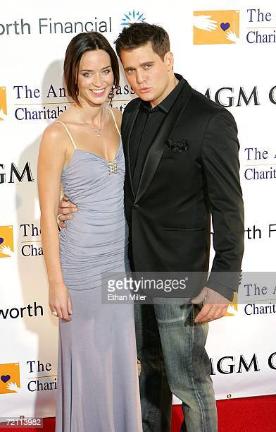 Actress Emily Blunt and boyfriend and singer Michael Buble arrive at the 11th annual Andre Agassi Charitable Foundation's Grand Slam benefit concert...