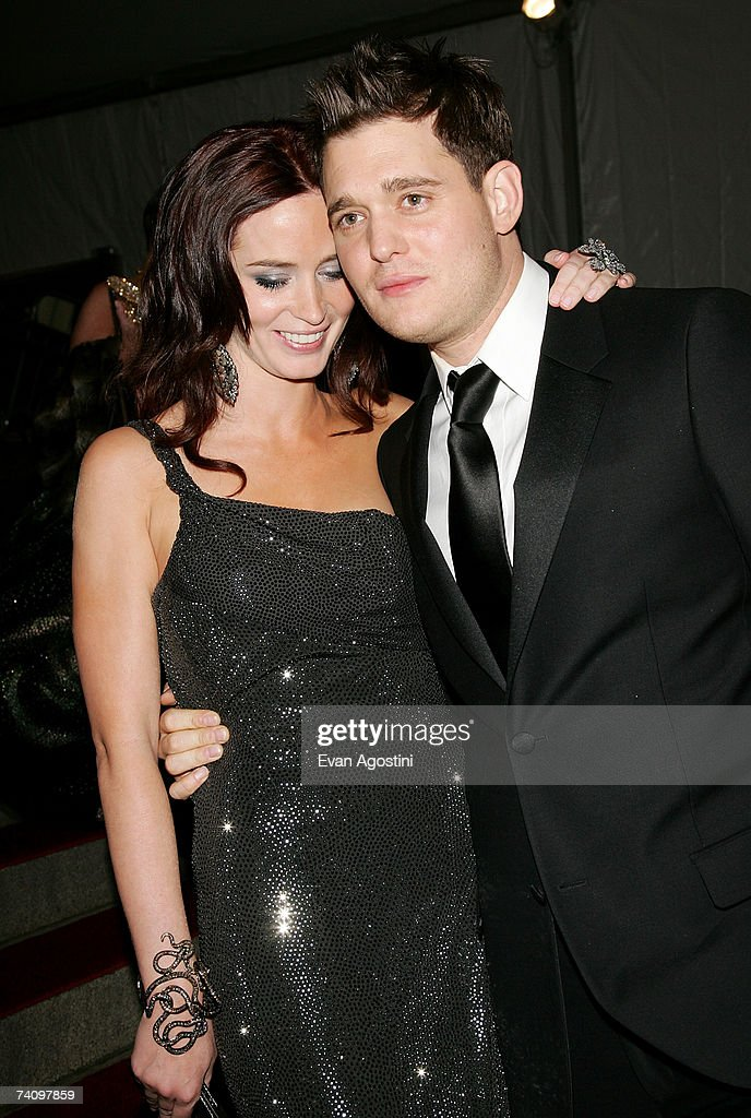 Actress Emily Blunt and boyfriend singer Michael Buble leaving The Metropolitan Museum of Art's Costume Institute Gala May 07, 2007 in New York City.