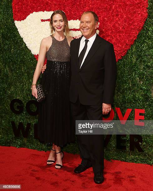Actress Emily Blunt and designer Michael Kors attend the 2015 God's Love WE Deliver Golden Heart Awards at Spring Studios on October 15, 2015 in New...