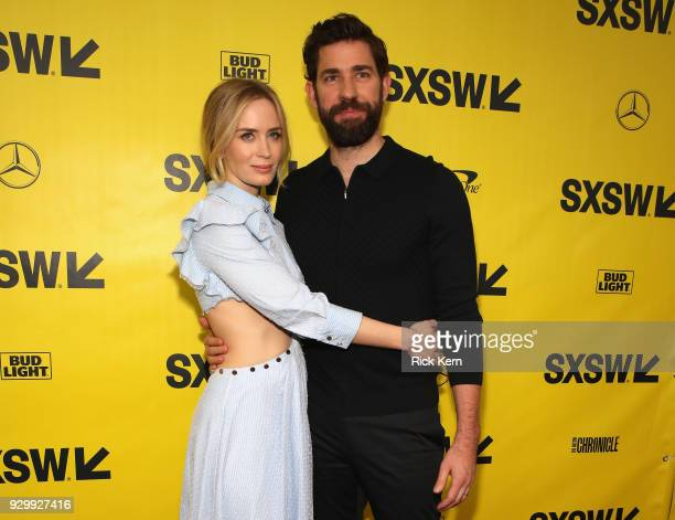 Actress Emily Blunt and director John Kransinski attend the Opening Night Screening and World Premiere of 'A Quiet Place' during the 2018 SXSW Film...