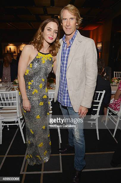 Actress Emily Blunt and director Michael Bay attend IWC Schaffhausen celebrates ''Timeless Portofino'' Gala Event during Art Basel Miami Beach to...