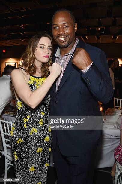 Actress Emily Blunt and former boxer Lennox Lewis attend IWC Schaffhausen celebrates 'Timeless Portofino' Gala Event during Art Basel Miami Beach to...