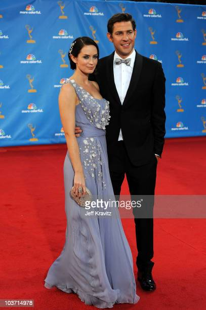 Actress Emily Blunt and husband actor John Krasinski arrive at the 62nd Annual Primetime Emmy Awards held at the Nokia Theatre LA Live on August 29...