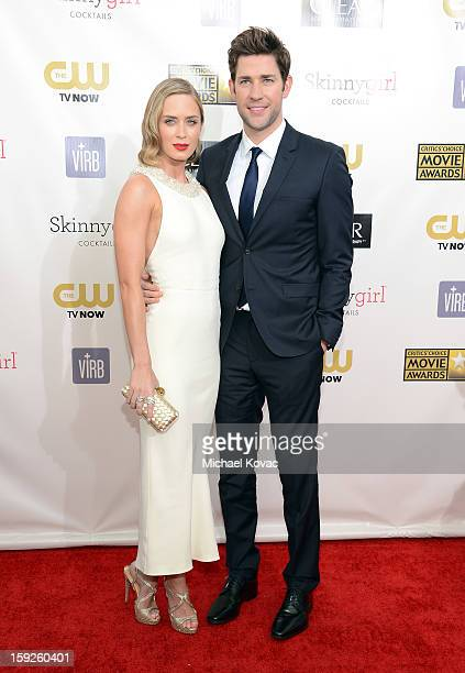 Actress Emily Blunt and John Krasinski attend the Critics' Choice Movie Awards 2013 with Skinnygirl Cocktails at Barkar Hangar on January 10 2013 in...