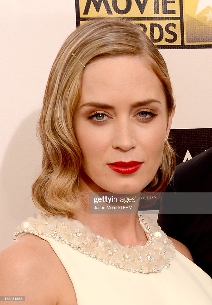 Actress Emily Blunt arrives at the 18th Annual Critics' Choice Movie Awards held at Barker Hangar on January 10, 2013 in Santa Monica, California.