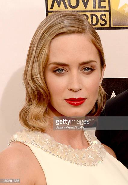 Actress Emily Blunt arrives at the 18th Annual Critics' Choice Movie Awards held at Barker Hangar on January 10 2013 in Santa Monica California