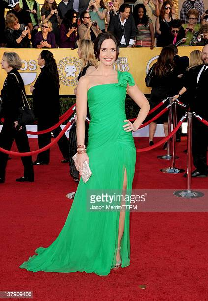 Actress Emily Blunt arrives at the 18th Annual Screen Actors Guild Awards at The Shrine Auditorium on January 29 2012 in Los Angeles California
