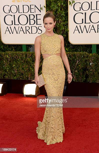 Actress Emily Blunt arrives at the 70th Annual Golden Globe Awards held at The Beverly Hilton Hotel on January 13 2013 in Beverly Hills California