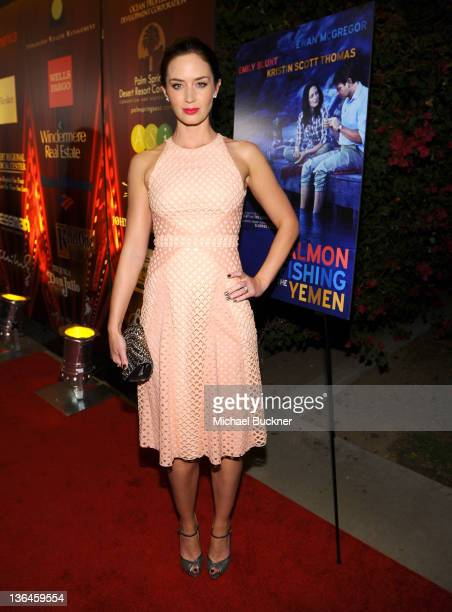Actress Emily Blunt arrives at the Opening Night Film Salmon Fishing In The Yemen during the 23rd Annual Palm Springs International Film Festival at...