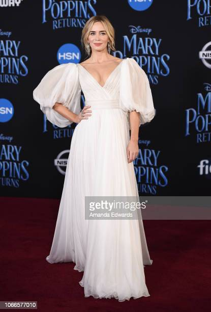 Actress Emily Blunt arrives at the premiere of Disney's Mary Poppins Returns at the El Capitan Theatre on November 29 2018 in Los Angeles California