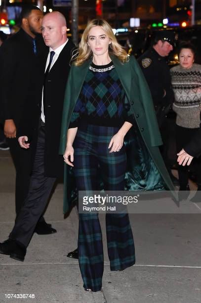 Actress Emily Blunt arrives to 'The Late Show With Stephen Colbert' at the Ed Sullivan Theater on December 17 2018 in New York City