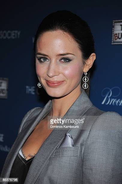 Actress Emily Blunt attends The Cinema Society and Brooks Brothers screening of The Great Buck Howard at the Tribeca Grand Screening Room on March 10...
