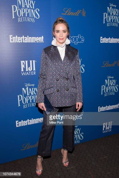 Actress Emily Blunt attends The Cinema Society's screening of Mary Poppins Returns cohosted by Lindt Chocolate at SVA Theatre on December 17 2018 in...