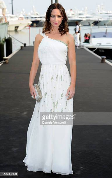 Actress Emily Blunt attends the Fair Game Cocktail Party hosted by Giorgio Armani held aboard his boat 'Main' during the 63rd Annual International...