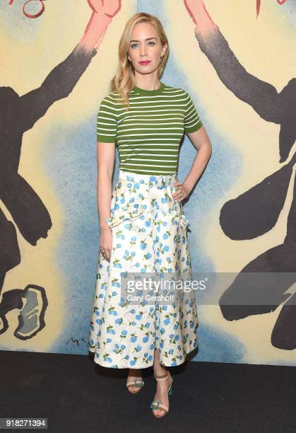 Actress Emily Blunt attends the Michael Kors fashion show during New York Fashion Week at Vivian Beaumont Theatre on February 14 2018 in New York City
