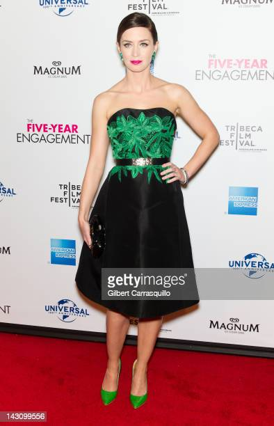 """Actress Emily Blunt attends the premiere of """"The Five Year Engagement during the 12 Tribeca Film Festival at the Ziegfeld Theatre on April 18, 2012..."""