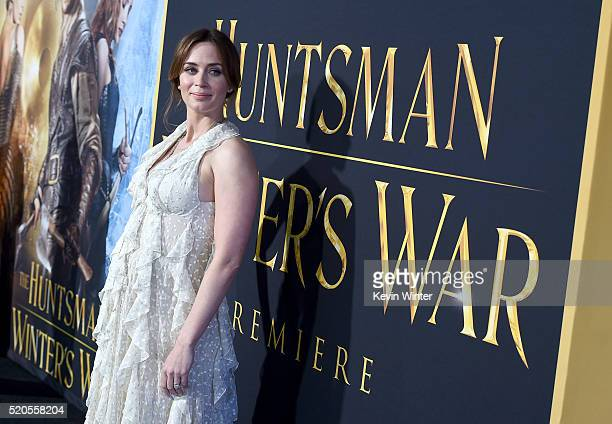 Actress Emily Blunt attends the premiere of Universal Pictures' 'The Huntsman Winter's War' at the Regency Village Theatre on April 11 2016 in...