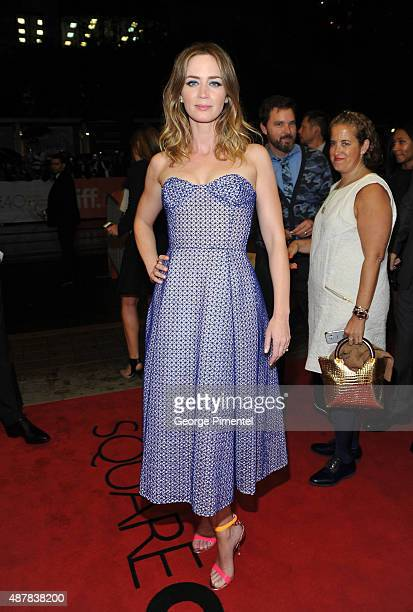 "Actress Emily Blunt attends the ""Sicario"" premiere during the 2015 Toronto International Film Festival at Princess of Wales Theatre on September 11,..."