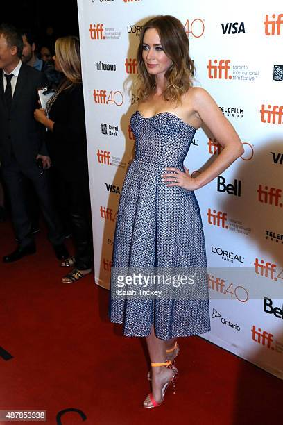 Actress Emily Blunt attends the 'Sicario' premiere during the 2015 Toronto International Film Festival at Princess of Wales Theatre on September 11...